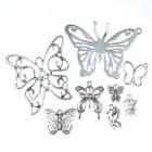 Висулка метална пеперуда АСОРТЕ 10~75x10~47x1~3 мм дупка 1~5 мм цвят старо сребро -20 грама