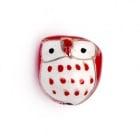 Мънисто порцелан бухал 16.5x15x13 мм дупка 2 мм ръчна изработка бяло и червено