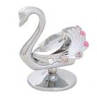 Сребърна фигура Лебед - с елементи Сваровски