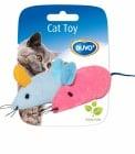 Играчка за коте - мишка 2бр розова и синя 6x5x3CM