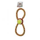Играчка за куче Осморка въже с тенис топка - 28 см