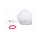 Играчка за коте - Заешка опашка с връвчица 7 х 55 cм.