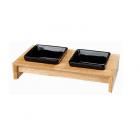 Комплект Керамични купички на дървена със стойка