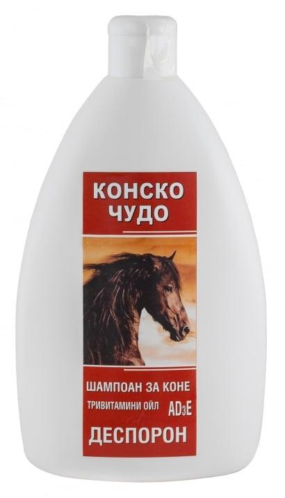 ШАМПОАН КОНСКО ЧУДО с ДЕСПОРОН - премахва косопада, себореята и кожните люспи, 500 мл.