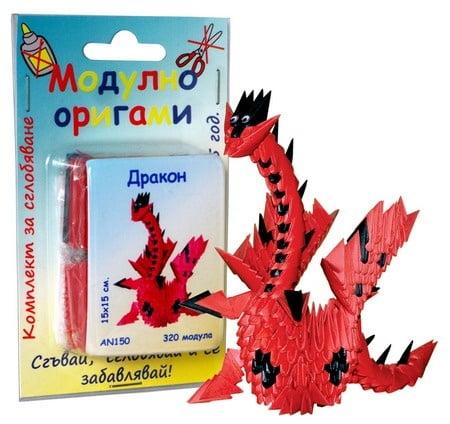 Комплект Модулно оригами Дракон - червен