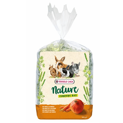 Versale laga  Nature Timothy Hay Carrot & Pumpkin – Сено за гризачи ливадна тимотейка, обогатено с моркови и тиква, 500гр