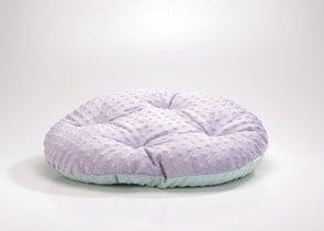 Kръгло двулицево легло в лилаво и синьо