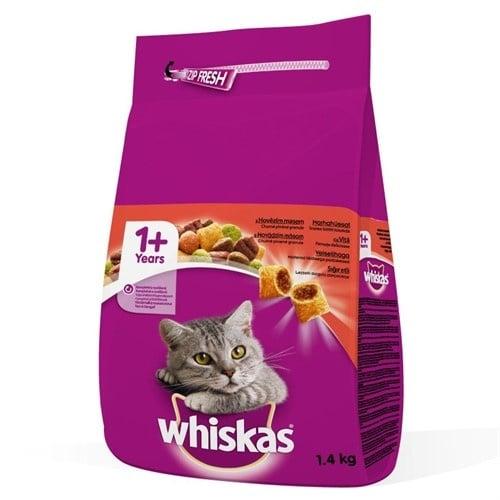 Whiskas - гранула с фин пълнеж, с невероятен вкус на говеждо месо, специално за израснали котки - 0.300кг; 1.400кг; 14.00кг
