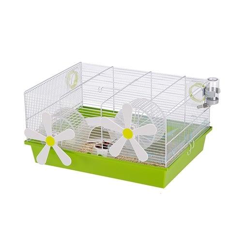 Клетка за хамстери и мишки със две колела CAGE MILOS M FLOWERS WHITE  50 x 35 x h 25 cm