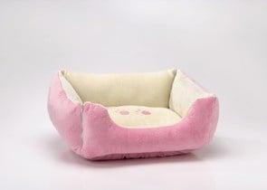 Правоъгълно двулицево легло в розово и бяло
