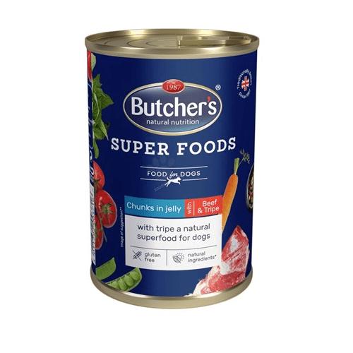 Хапки в желе за куче  Butchers Super Foods 400гр - два вкуса