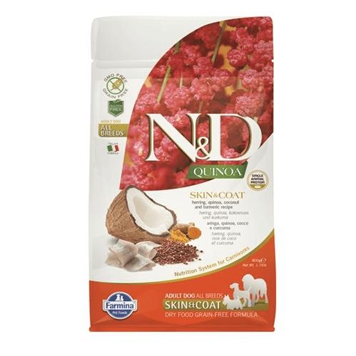 N&D QUINOA SKIN & COAT - Пълноценна храна с киноа и херинга за кучета с чувствителен стомах, за здрава кожа и козина