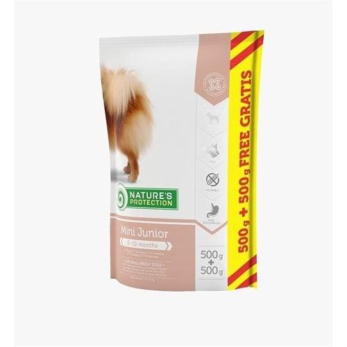 Nature`s Protection Mini Junior- пълноценна храна за подрастващи кученца от малките породи (тегло на израстнало куче от 1 до 10 кг)- 500ГР+500ГР