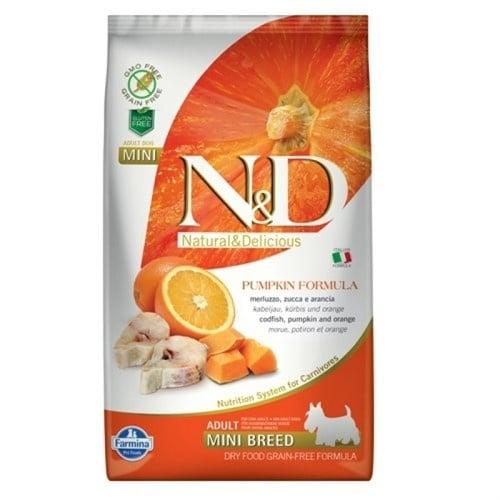 N&D ADULT MINI PUMPKIN - Пълноценна храна за кучета от дребни породи с тиква, с риба треска и портокал