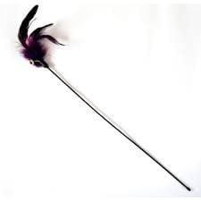 Играчка коте въдица с естествени пера - 50см