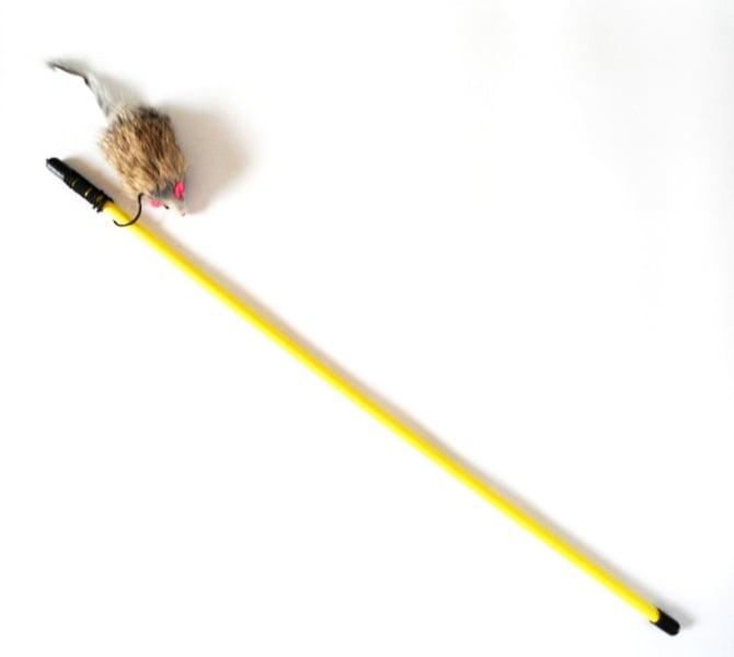 Играчка коте въдица 50см + мишка 6см