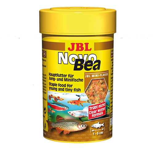JBL NovoBea 100ml - Храна за гупи и други малки декоративни живораждащи рибки – люспи. 52 съставки в 7 типа люспи