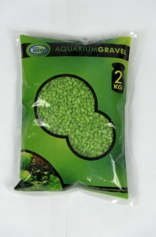 Aqua Nova Цветен пясък зелен NCG-2 3-4 mm - разфасовка от 2кг