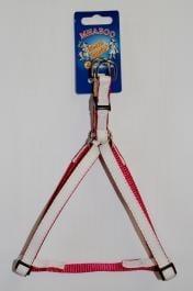 Нагръдник с бяла копринена лента - розов и червен - два размера