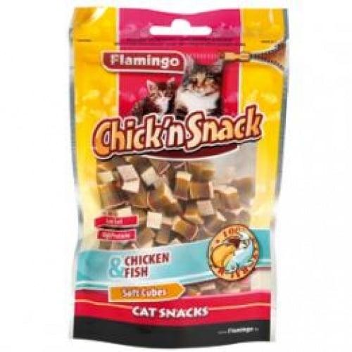 Flamingo Chick'n snack - меки кубчета от пиле и морска треска, 85гр