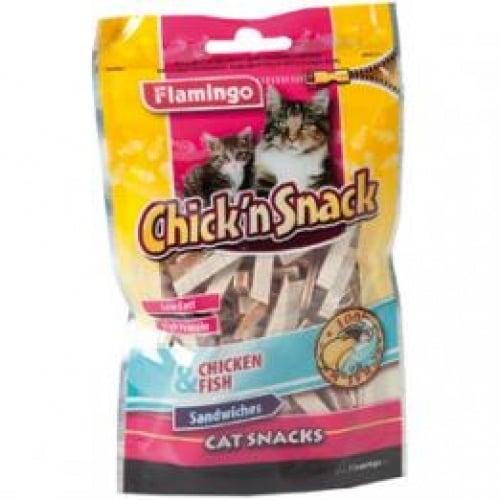 Flamingo Chick'n snack - сандвич лентички от пиле и морска треска, 85гр