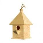 Дървена къщичка за птички, H 20 х 11 x 11 cm, натурална